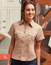 Ladies` Roll Short Sleeve Fitted Twill Shirt