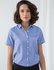 Ladies` Gingham Cofrex/Pufy Wicking Short Sleeve Shirt