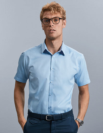 Men`s Short Sleeve Tailored Herringbone Shirt